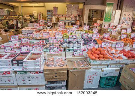 Tokyo Tsukiji Japan -November 21 2015 - Tsukiji market is a large market for fish fruits and vegetables in Tokyo Japan.Tsukiji Market which is the biggest wholesale fish market in the world.
