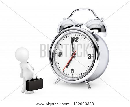 3d Businessman with Alarm Clock on a white background. 3d Rendering