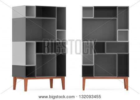Modern Abstract Shelves on a white background. 3d Rendering