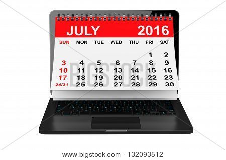 2016 year calendar. July calendar over laptop screen on a white background. 3d rendering