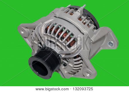 Alternator. Image of car alternator isolated on green background. Chromakey Green Screen