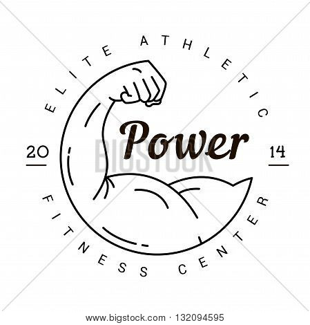 A symbol of strength. Logo for a fitness club in vintage style. Stamp Sports