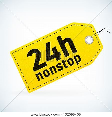 Yellow leather business vector label 24h nonstop. Business detailed vector label with opening hour text. Isolated from background. Editable business tag.