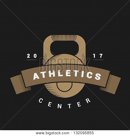 Logo with weights for sports center in vintage style. Vector dark background. illustrations weights