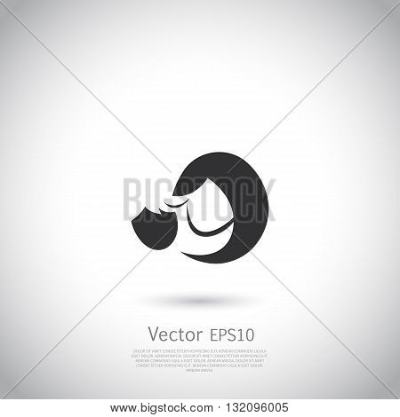 Mother and child icon or logo template. Vector illustration on gray background with place for your text.