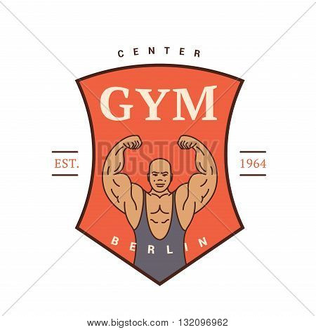 The logo for the sports hall a man with biceps. retro logo. Vintage
