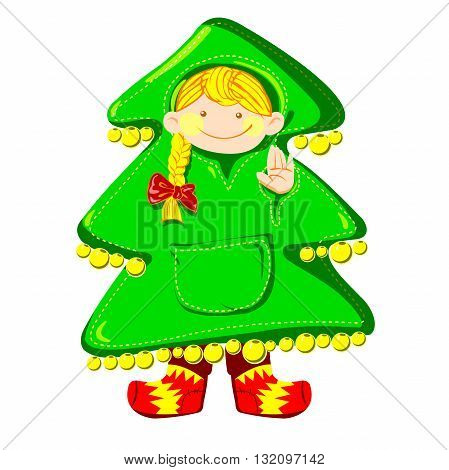 Cartoon and vector fir-tree baby white background