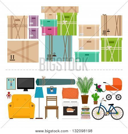 Furniture and boxes icons set for rooms of house vector illustration