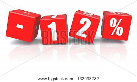 12% discount red cubes on a white background. 3d rendered image