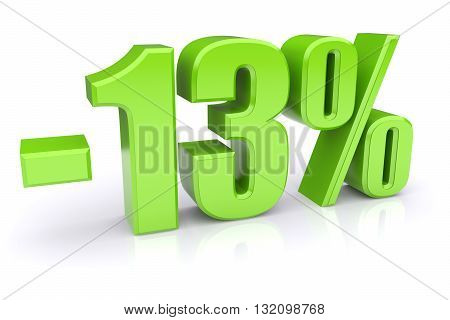 Green 13% discount icon on a white background. 3d rendered image