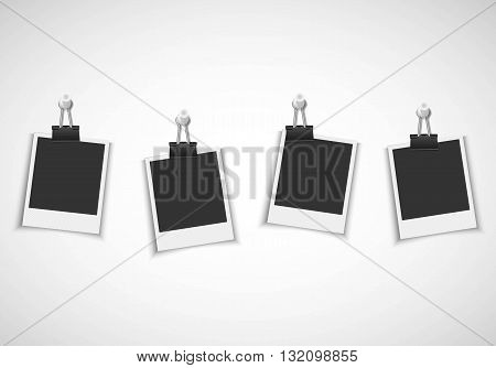 Blank photo frames with clip and pushpin