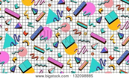 Bright vector pattern 80's. Background checkered bumage. Abstract geometric shapes. Illustration for hipsters Memphis style.