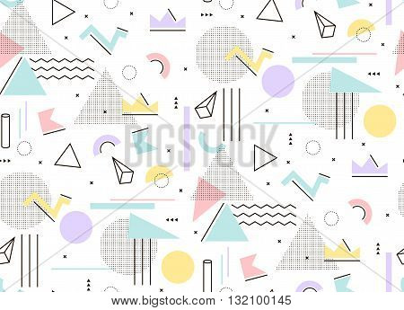 Gentle light pattern of geometric shapes Memphis style. Mint and pink triangles hipstre style to build.