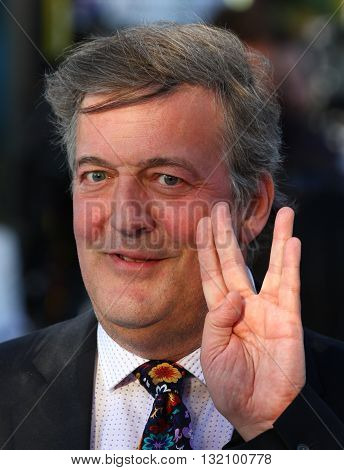 LONDON, UK - MAY  2, 2013: Stephen Fry seen at the UK Premiere of Star Trek Into Darkness at The Empire Cinema picture taken from a public area