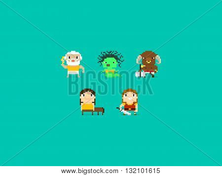 Set of different pixel art characters greek mythology characters gods and beasts