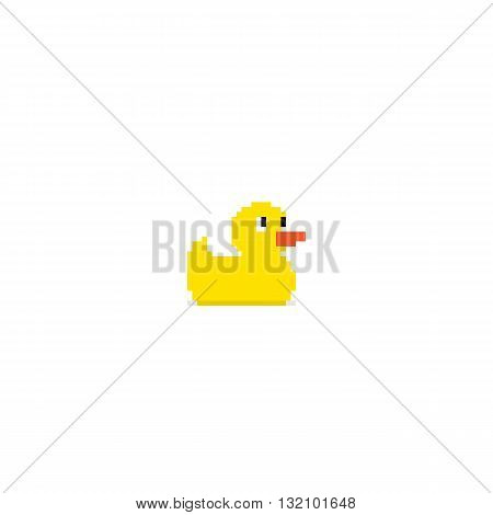 Pixel art yellow bath duck isolated on white background