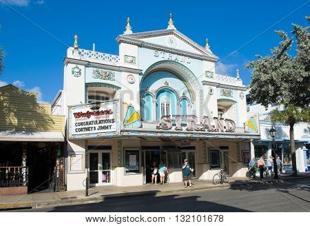 KEY WEST FLORIDA USA - MAY 01 2016: The old Strand theatre in Duval street in the center of Key West