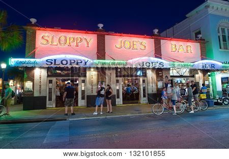 KEY WEST FLORIDA USA - MAY 01 2016: Sloppy Joe's Bar in the twilight in Duval street in the center of Key West