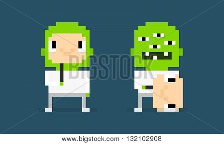 Pixel art characters pretender alien hiding behind the smiling human mask alien unmasked