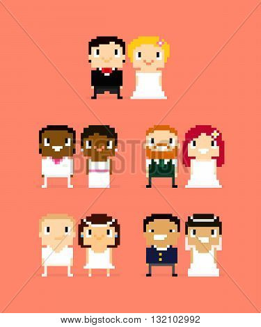 Pixel art characters five wedding couples wife and husband bride and groom with different hair and skin color