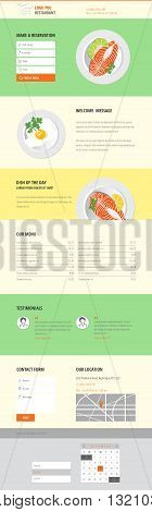 Vector One/Landing page Cafe or Restaurant website templates with food illustrations and forms