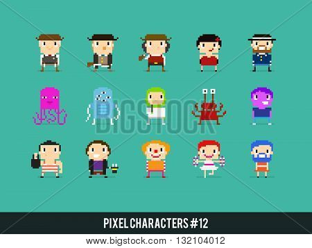 Pixel art characters wild west aliens and circus people