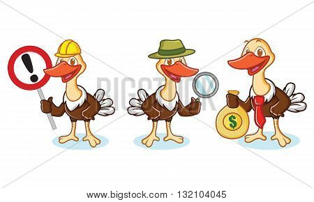 Ostrich Mascot Vector with sign magnifying glass and money