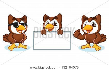 Owl Mascot Vector happy pose and bring board