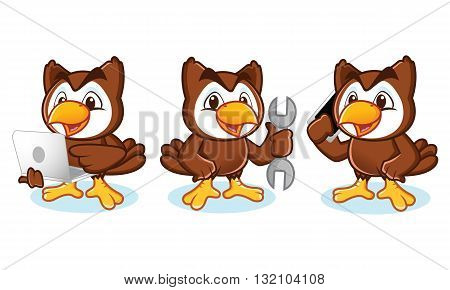 Owl Mascot Vector with phone laptop tools