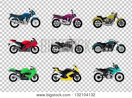 Set of motorcycle design flat style. Motorbike and bike, motorcycle isolated, motorcycle and motor, engine cycle, travel motorcycle, power moto, speed vehicle transport, transportation illustration