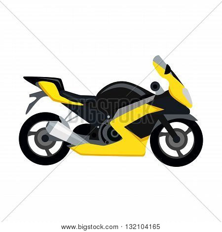 Cool motorcycle isolated on white background. Vehicle on two wheels, biker chopper. Transport modern motorbike with power engine. Classic bike for riding in a flat style. Vector illustration