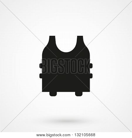 Bullet Proof Vest Icon Vector Black On White Background