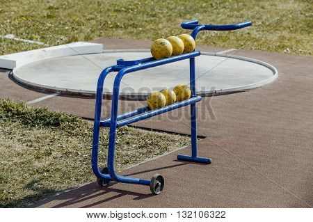shot put stand at stadium during competition