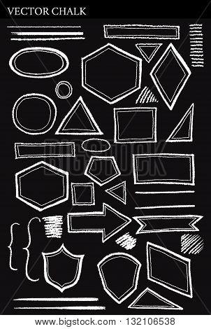 Set of Vector Chalk Shapes Grunge Design Elements. Hand drawn illustration.
