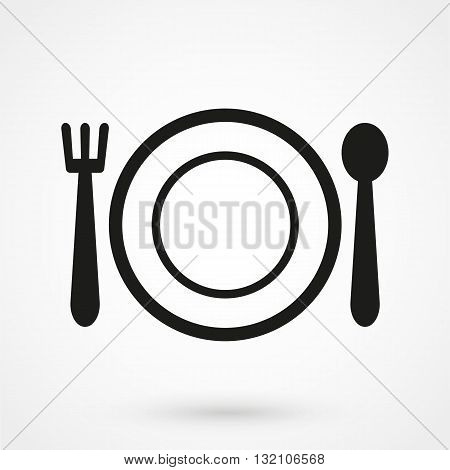 Vector Fork And Spoon Icon, Plate Black On White Background