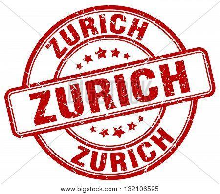 Zurich red grunge round vintage rubber stamp.Zurich stamp.Zurich round stamp.Zurich grunge stamp.Zurich.Zurich vintage stamp.