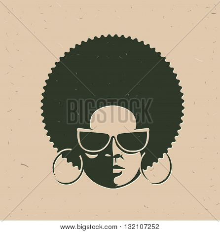 Front view portrait of a black woman face with sunglasses. Vintage afro hairstyle. Vector illustration. Flat design style.