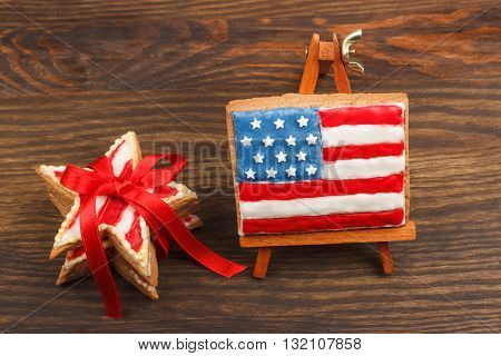 Cookie With American Patriotic Colors With Ribbon