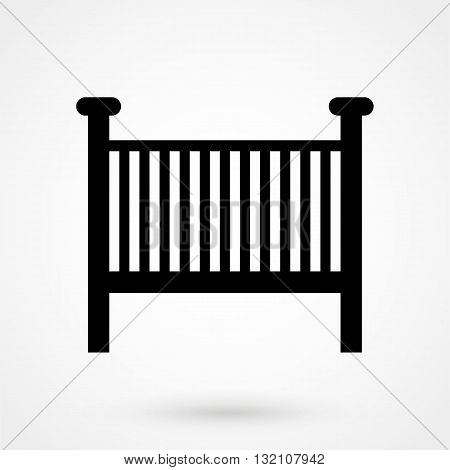 Children's Bed Icon Vector Black On White Background