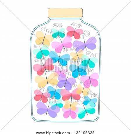 Jar with butterfly. Vector hand drawn doodle jar with light butterfly. Yellow pink red blue green and violet colors.