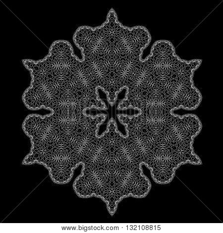 White Mandala Isolated on Black Background. Round Ornament