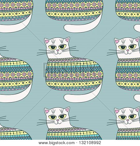 Pattern with cats. Hand drawn seamless pattern with cute colorful cats. Pastel colors. Vector background for kids.