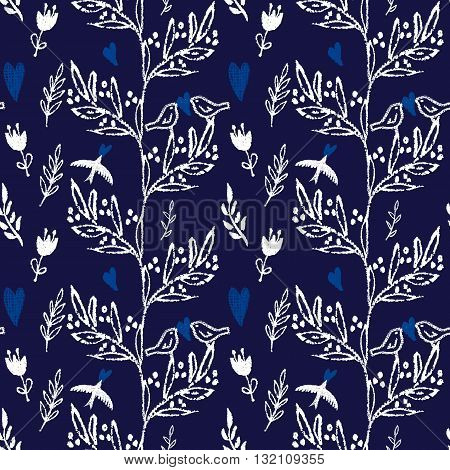 Dark blue hand drawn seamless pattern with leaves, flowers and flying birds. Vector illustration.