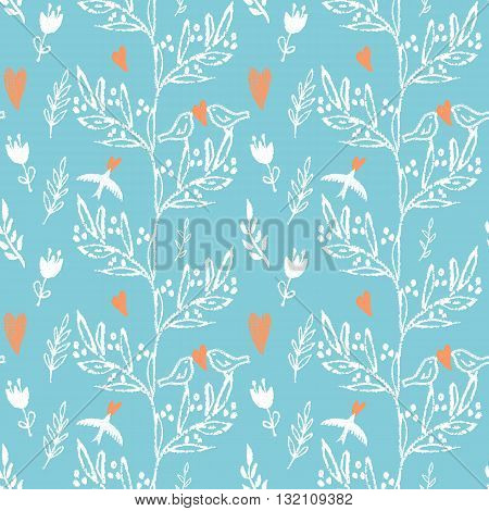 Light blue hand drawn seamless pattern with green weed, red flowers and birds.