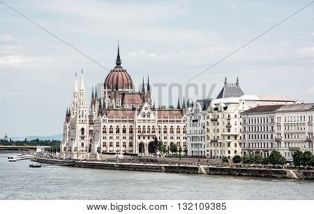 Hungarian parliament building - Orszaghaz also known as the Parliament of Budapest Hungary. Danube river. House of the nation. Cultural heritage. Travel destination. Architectural theme.