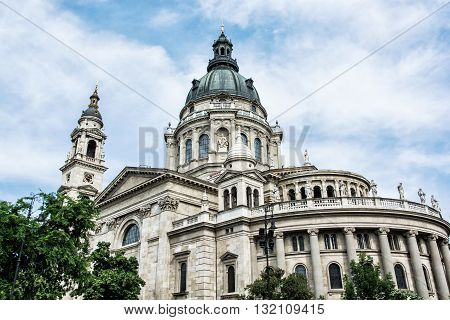 Saint Stephen's basilica is a roman catholic basilica in Budapest Hungary. Architectural theme. Cultural heritage. Religious architecture. Travel destination. Famous place.