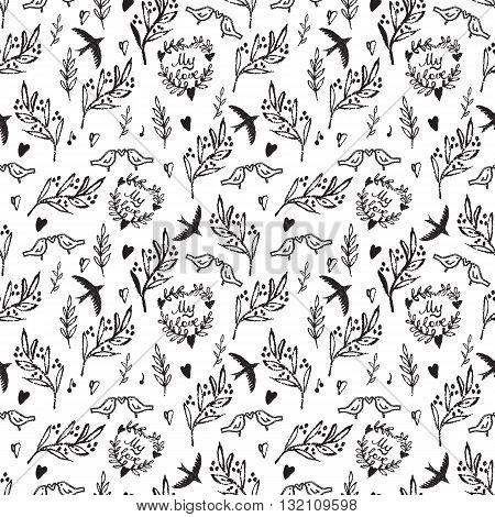 Black on white hand drawn seamless pattern with weed, flowers and birds.