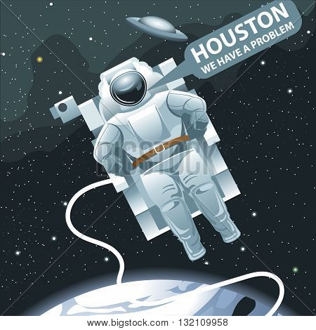 Astronaut in spacesuit flying in space and calling for Houston. Background with stars planets and galaxies. Digital vector image.