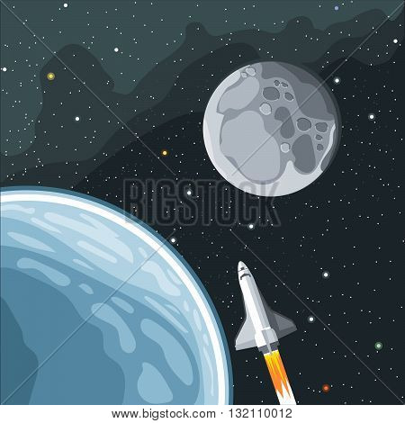 Spaceship mission to moon. Eart and moon view in space. Digital vector image.