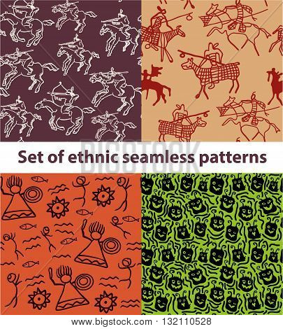 set of hand drawn ethnic tribal seamless patterns, the pattern of the horsemen of the native americans with guns, the pattern of the rock paintings of Northern peoples